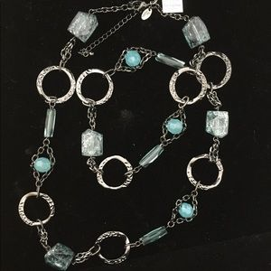 Lia Sophia Gunmetal Gray & Ice Blue Necklace
